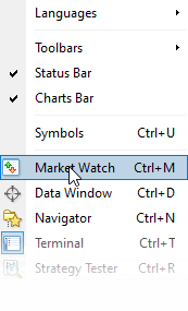 Select Market Watch in Meta Trader 4