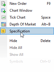 Click select specification in Meta Trader 4