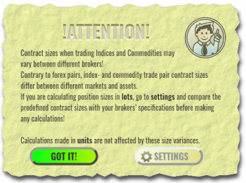 Attention! pop-up dialog from Forex Calculator warning about inconsistencies between brokers about contract sizes