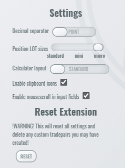 The different settings types on the settings page