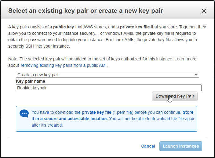Select an existing kay pair or create a new key pair