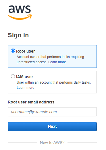 Sign in to AWS