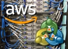 Amazon Web Services logo and Metatrader logo on top of picture of web servers